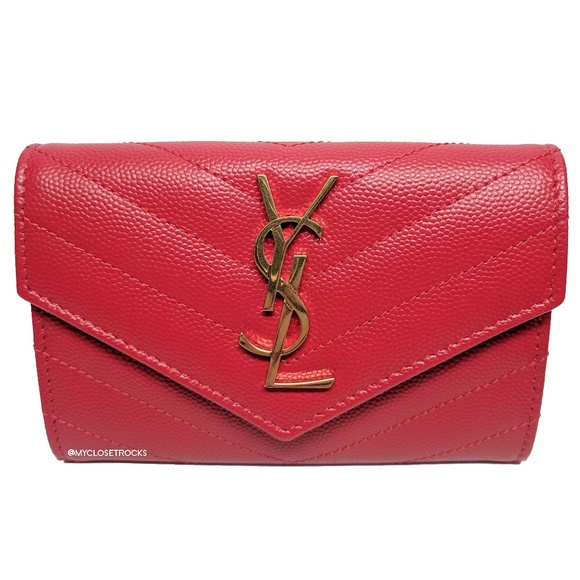 Saint Laurent Handbags - Saint Laurent Red Envelope Small Wallet